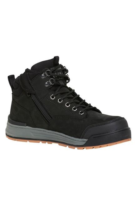 Hard Yakka 3056 Lace Up, Zip Sided, Wide Toe Steel Cap Work Boots in Black Leather (Y60201)