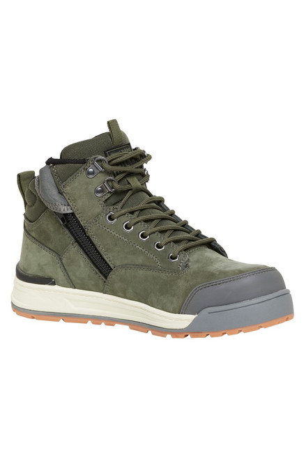 Hard Yakka 3056 Lace Up, Zip Sided, Wide Toe Steel Cap Work Boots in Olive Leather (Y60203)