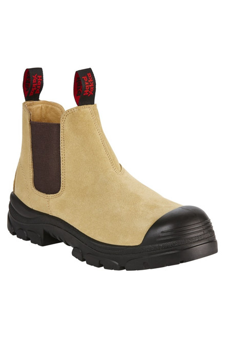 Hard Yakka Grit Gusset Sand Leather, Wide Steel Toe Work Boots (Y60087)