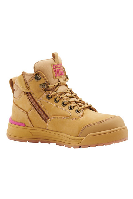 Hard Yakka 3056 Women's Lace Up, Zip Sided, Wide Toe Steel Cap Work Boots in Wheat Leather (Y60240)