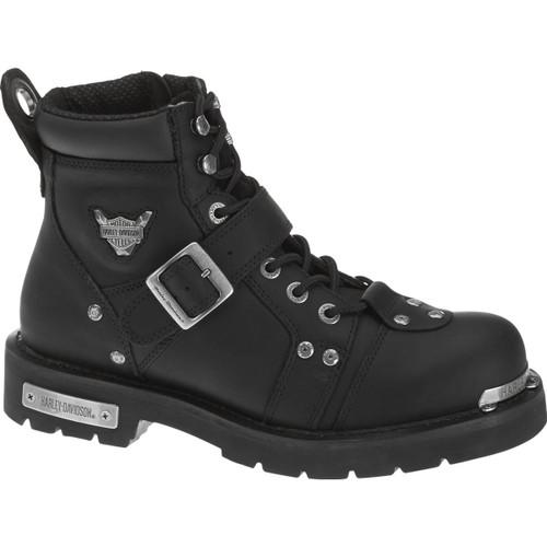 Harley Davidson Brake Buckle Full Grain Leather Boots in Black (D91684 Black)