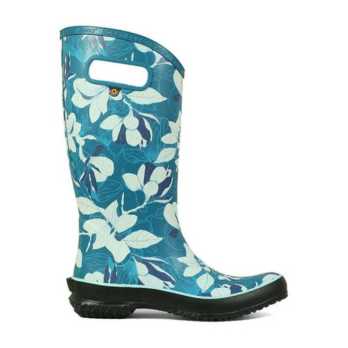 Side View BOGS Rainboot Spring Women's Soft Natural Rubber Gumboots in Aqua (972356-441)