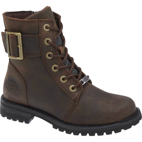 Harley Davidson Sylewood Women's Zip Sided Full Grain Leather Boots in Brown (D87087 Brown)