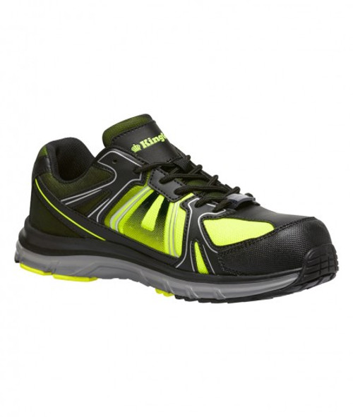 KingGee Comptec G41 Light Weight Composite Toe Safety Work Shoes in Black and Lime (K26460)