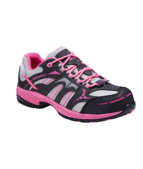 KingGee Women's CompTec G3 Composite Toe Leather Safety Shoes in Pink and Grey (K26600)