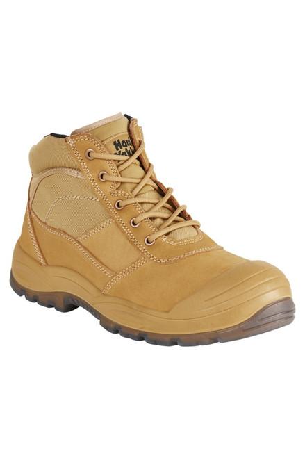 Hard Yakka Utility Zip Sided, Steel Toe Work Boots in Wheat Leather (Y60120)