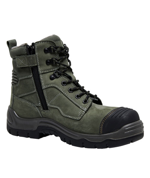 Zip View KingGee Phoenix 6CZ EH 6 Inch Leather Zip Sided Safety Work Boots in Khaki (K27990)