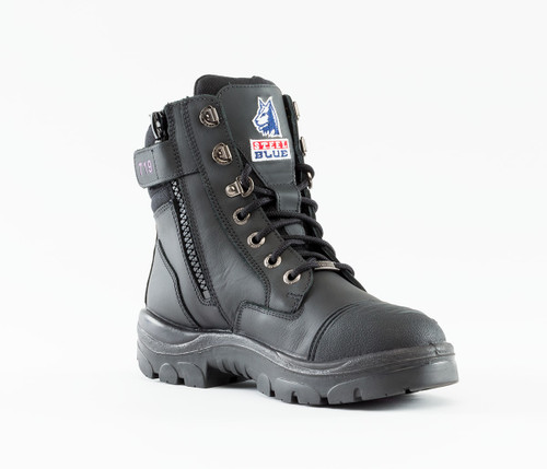 Steel Blue Southern Cross Ladies Scuff Zip Sided Steel Cap Boot in Black (512719 Blk)