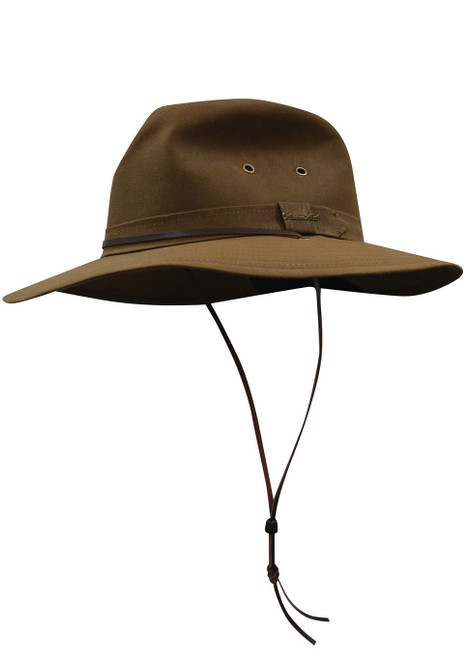 Thomas Cook Wide Brim Oilskin Hat Made From Cotton Waxed Oilskin in Camel (TCP1921408 Camel)