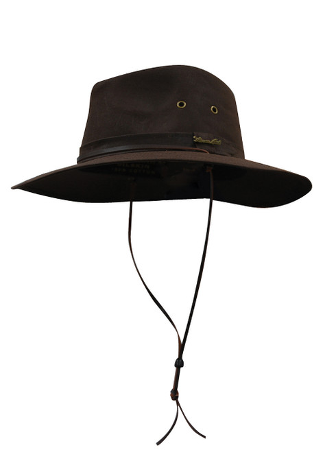 Thomas Cook Wide Brim Oilskin Hat Made From Cotton Waxed Oilskin in Dark Brown (TCP1921408 Dark Brown)