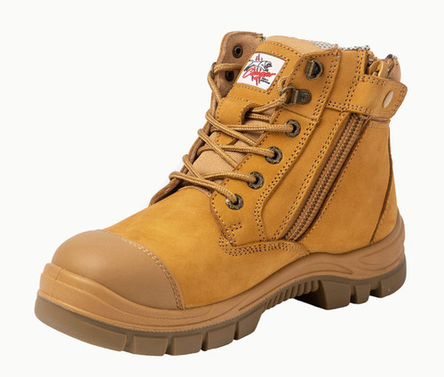 Cougar Miami Zip Sided Composite Toe Cap Safety Work Boots in Wheat (Miami)