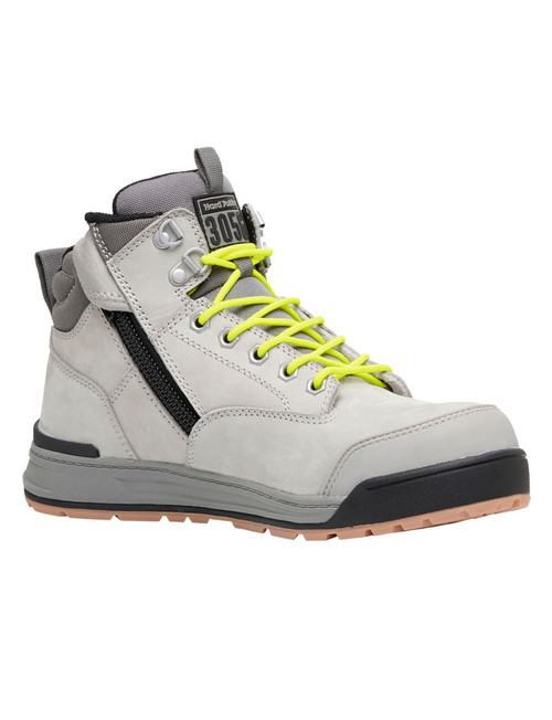 Hard Yakka 3056 Lace Up, Zip Sided, Wide Toe Steel Cap Work Boots in Grey Leather (Y60202)
