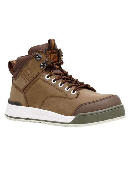 Hard Yakka 3056 Lace Up, Zip Sided, Wide Toe Steel Cap Work Boots in Oak (Y60205)