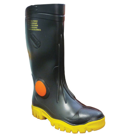 Stimela Foreman Steel Toe Gumboots in Black and Yellow (FWG902)