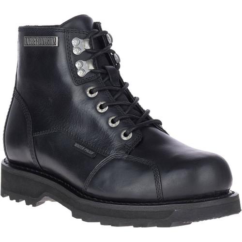 Harley Davidson Dorington Waterproof Zip Sided Riding Boots in Black Leather (D93637 Black)