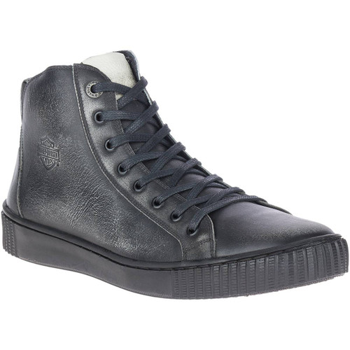 Harley Davidson Barren Full Grain Distressed Leather Riding Sneaker in Black (D93664 Black)
