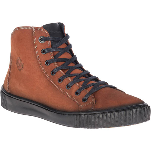 Harley Davidson Barren Full Grain Distressed Leather Riding Sneaker in Rust (D93651 Rust)