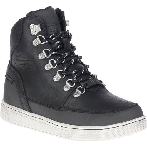 Harley Davidson Ashmont Women's Waterproof Casual Sneaker in Black Leather (D87200 Black)