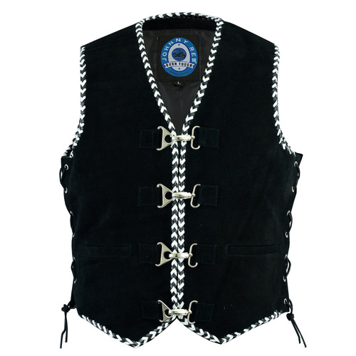 Johnny Reb Springbrook Soft Suede Vest with Braided Edges and Satin Lining (JRV10009)