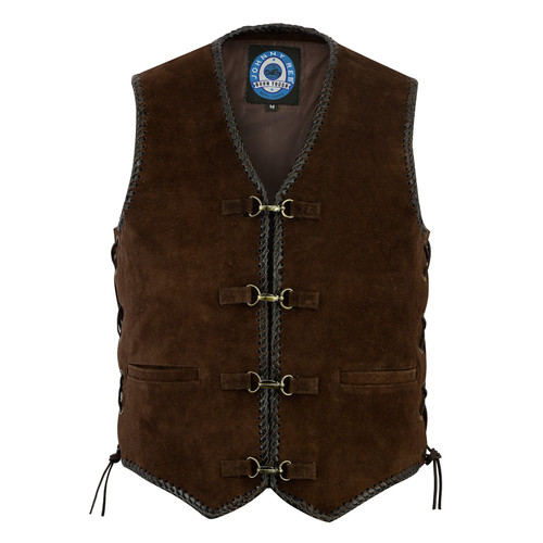 Johnny Reb Gillies Soft Dark Brown Suede Vest with Braided Edges (JRV10010)