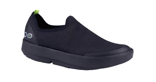 Oofos OOmg Eezee Womens Low Comfort Canvas Shoes in Black and Black ( 5072BKBK)