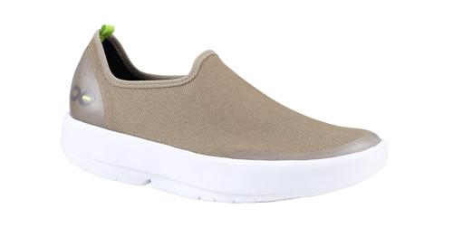 Oofos OOmg Eezee Womens Low Comfort Canvas Shoes in Taupe and White (5072WHTP)