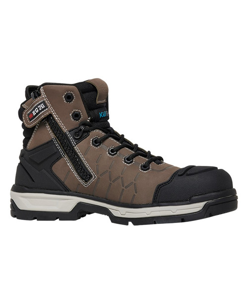 KingGee Quantum CB Zip Sided Composite Toe Safety Work Boots in Cedar and Black (K27120)