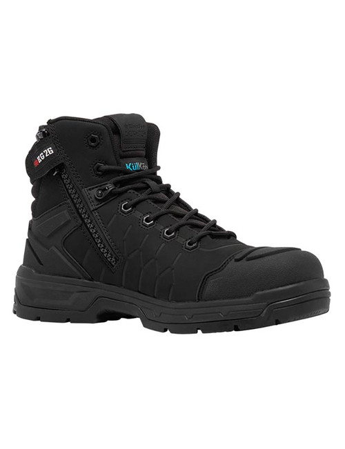 KingGee Quantum CB Zip Sided Composite Toe Safety Work Boots in Black (K27145)