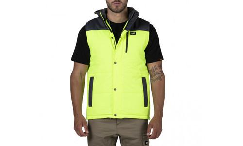 Cat Workwear Hi-Vis Yellow Hooded Work Vest (1320034-65P)