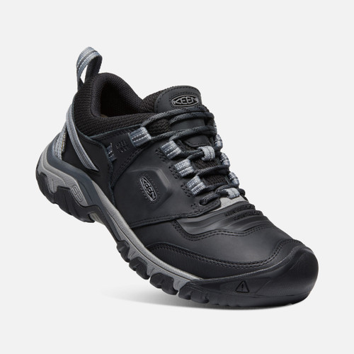 Angle View Keen Ridge Flex WP Waterproof Men's Hiking Shoes in Black Magnet (1024916)