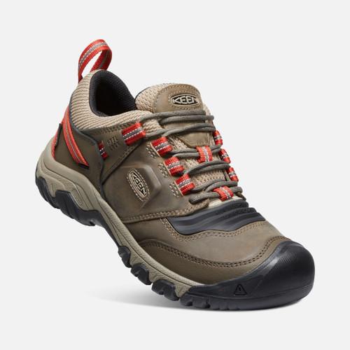 Angle Single Keen Ridge Flex WP Waterproof Men's Hiking Shoes in Timberwolf Ketchup (1024918)