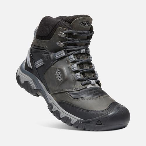 Angle Keen Ridge Flex Mid WP Waterproof Men's Hiking Shoes in Black Magnet (1024911)