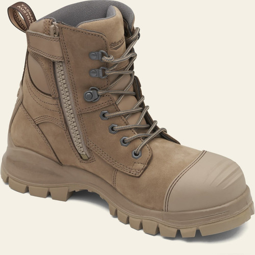 Blundstone 984 Steel Cap Lace Up Zip Sided Safety Boots in Stone Nubuck (984)