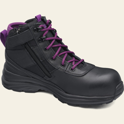 Blundstone 887 Women's Zip Sided Light Weight Composite Toe Safety Work Boots in Black and Purple (887)