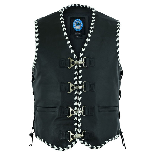 Johnny Reb Springbrook Leather Vest with Black and White Braided Leather Edging. (JRV10034)