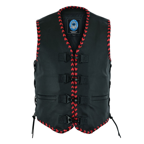 Johnny Reb Springbrook Leather Vest with Black and Red Braided Leather Edging. (JRV10036)