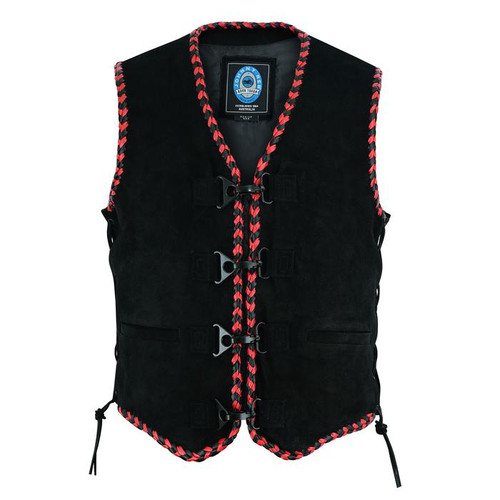 Johnny Reb Springbrook Soft Suede Vest with Black and Red Braided Edges (JRV10035)