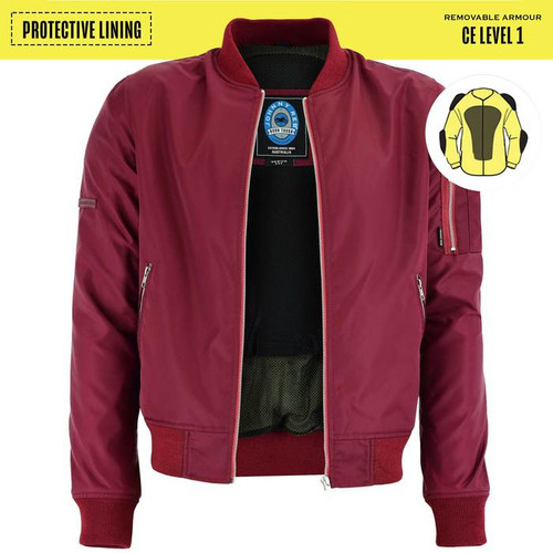 Johnny Reb Bomber Jacket with Kevlar® Lining In Maroon (JRJ10032)