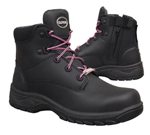d3e48764c1d Oliver Boots 49-445Z Women's Ankle Height Lace Up Zip Sided Safety ...