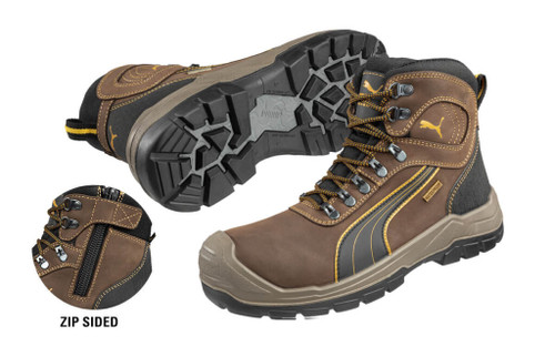 Puma Sierra Nevada Zip Brown Waterproof Work Boots with Composite Toe Cap (630227)