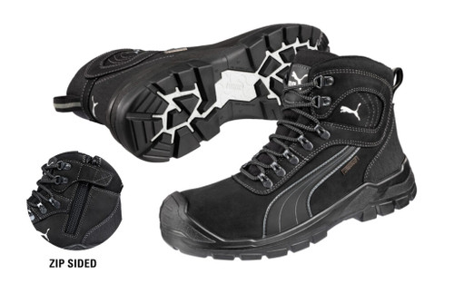 Puma Safety Boots Sierra Nevada Zip Sided Waterproof Boots with Composite Toe Cap, Black (630527)