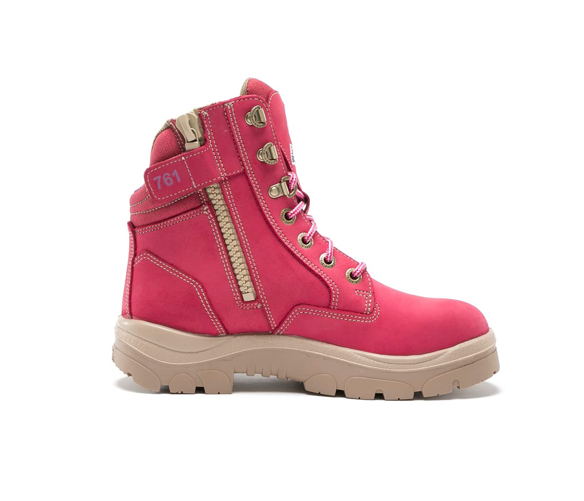 58d9405ecd7 Details about Steel Blue Southern Cross Zip Ladies Boots in Pink with Steel  Cap