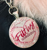 Filthy Gorgeous Charm keychain with pink  Pom Pom