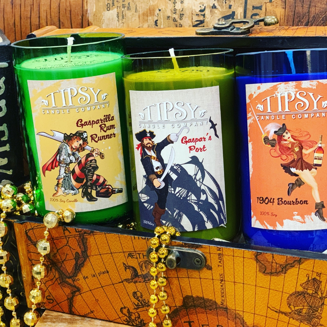 All three Gasparilla 14 ounce Soy Candles made by Tipsy Candle Company