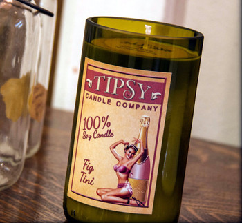 Fig-tini wine bottle candle made by Tipsy Candle Company.