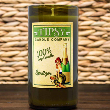 Spritzer Soy Candle in repurposed wine bottle made by Tipsy Candle Company