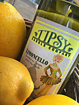 Limoncello, 100% Soy Candle in recycled wine bottle.