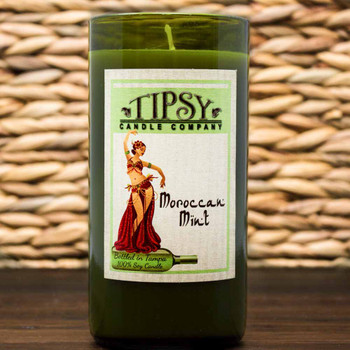 Moroccan Mint Soy candle in repurposed wine bottle made by Tipsy Candle Company