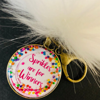 Sprinkles are for Winners  Pom Pom Key Chain