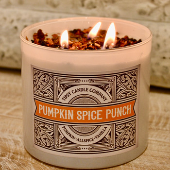 Pumpkin Spice Punch 17 ounce soy candle made by Tipsy Candle Company.